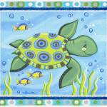 """Sea Turtle (with border)"" by Littlepig"