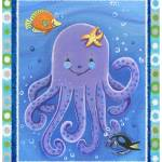 """Purple Octopus (with border)"" by Littlepig"