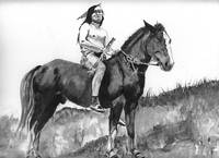 Native American Indian,Chief Joseph on horse
