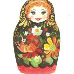 """Russian Doll With Flowers and Black Background"" by courtneycarlson"