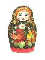 Russian Doll With Flowers and Black Background