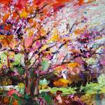"""Abstract Tree Spring Blossom Original Painting by"" by GinetteCallaway"