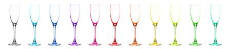 Set of eleven multicoloured wine glasses.