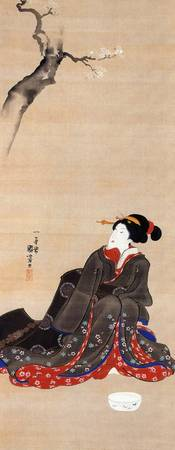 Kuniyoshi Woman Seated Under Cherry Blossums