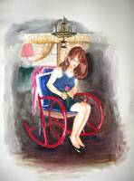 Woman on Red Rocker
