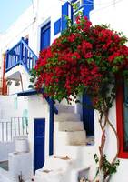 White house with blue door  Mykonos, Greece