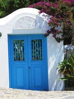 Painted Blue Door in Mykonos, Greece