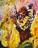 Butterfly On Yellow Flower Original Oil Painting b