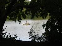 Couple in boat on lake