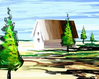 Digital painting of a small house in a landscape.