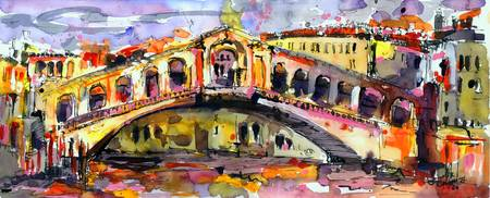 Rialto Bridge Watercolor Painting Venice Italy
