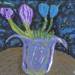 """Still Life Garden Lavender Blue Brown"" by spiritualartist"