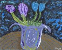 Still Life Garden Lavender Blue Brown