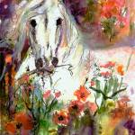"""White Stallion Original Painting by Ginette"" by GinetteCallaway"