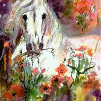 """White Stallion Original Painting by Ginette"" by Ginette Callaway"