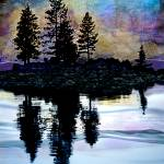 """Tree Silhouettes on Autumn Lake"" by ElainePlesser"