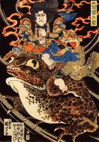 Tenjiku Tokubei Riding a Giant Toad