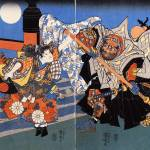 """Uchiwakamaru Fighting Benkei on Gojo Bridge"" by ArtLoversOnline"