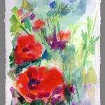 """Red Poppies Modern Watercolor Painting"" by GinetteCallaway"