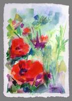 Red Poppies Watercolor Painting by Ginette Callawa