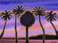 Palms in the Pink Sunset