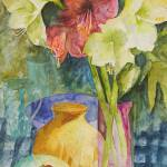 """Still life with flowers and round vase"" by carolinekaye"