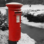 """Traditional red British post box"" by SueLeonard"
