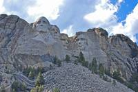 mount rushmore with clouds, horizontal