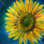 """Yellow Sunflower in Shimmering Blue"" by Lenora"