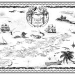 """Virgin Islands Nautical Chart, Ink Drawing Map"" by savanna"