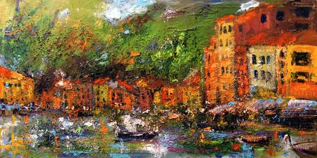 Panoramic Portofino Large Oil Painting
