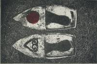 Ceramic slippers( Raku fired ) and photo etchings-