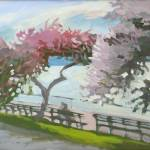 """Pink Trees Riverside"" by rogerwhite"