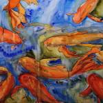 """Golden Koi, Watercolor Painting Koi Carp Fish Art"" by schulmanart"