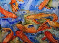 Golden Koi, Watercolor Painting Koi Carp Fish Art