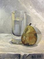 Still life: Glass and pear