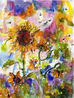 Sunflowers & Bees Watercolor Painting by Ginette