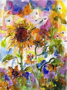 Sunflowers Amp Bees Watercolor Painting By Ginette By