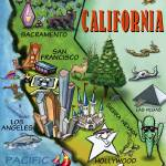 """California Cartoon Map"" by FunGraphix"