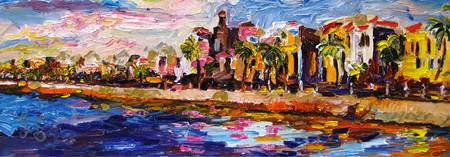 Charleston South Carolina Battery Oil Painting by