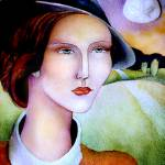 """Woman in hat with shell moon watercolor"" by eyecontact"