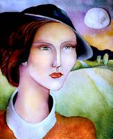 Woman in hat with shell moon watercolor