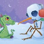 """Snowman and Dragon"" by schwegel"