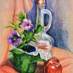 """Bottle with plants still life"" by sboyle"