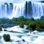 """Iguassu Falls Brazil Watercolor"" by rdwittle"