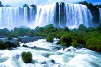 Iguassu Falls Brazil Watercolor
