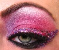 purple glitter eye using ben nye, m.a.c. and urban