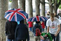 Union Flag umbrellas on South Bank
