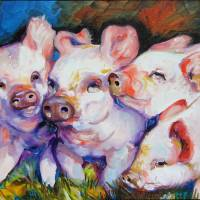 """DIRTY LITTLE PIGS"" by MBaldwinFineArt2006"