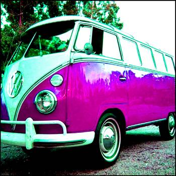 Purple Vw Bus By Paul Van Scott